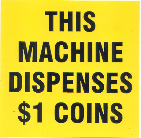 Coin Dispenser Labels